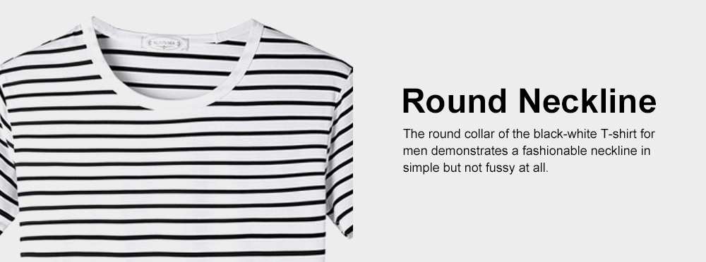 Short Sleeve Stripe T-shirt, Male Daily Wear Summer Straight Cut Round Collar Tees, Students All-match Thin T-shirt 5