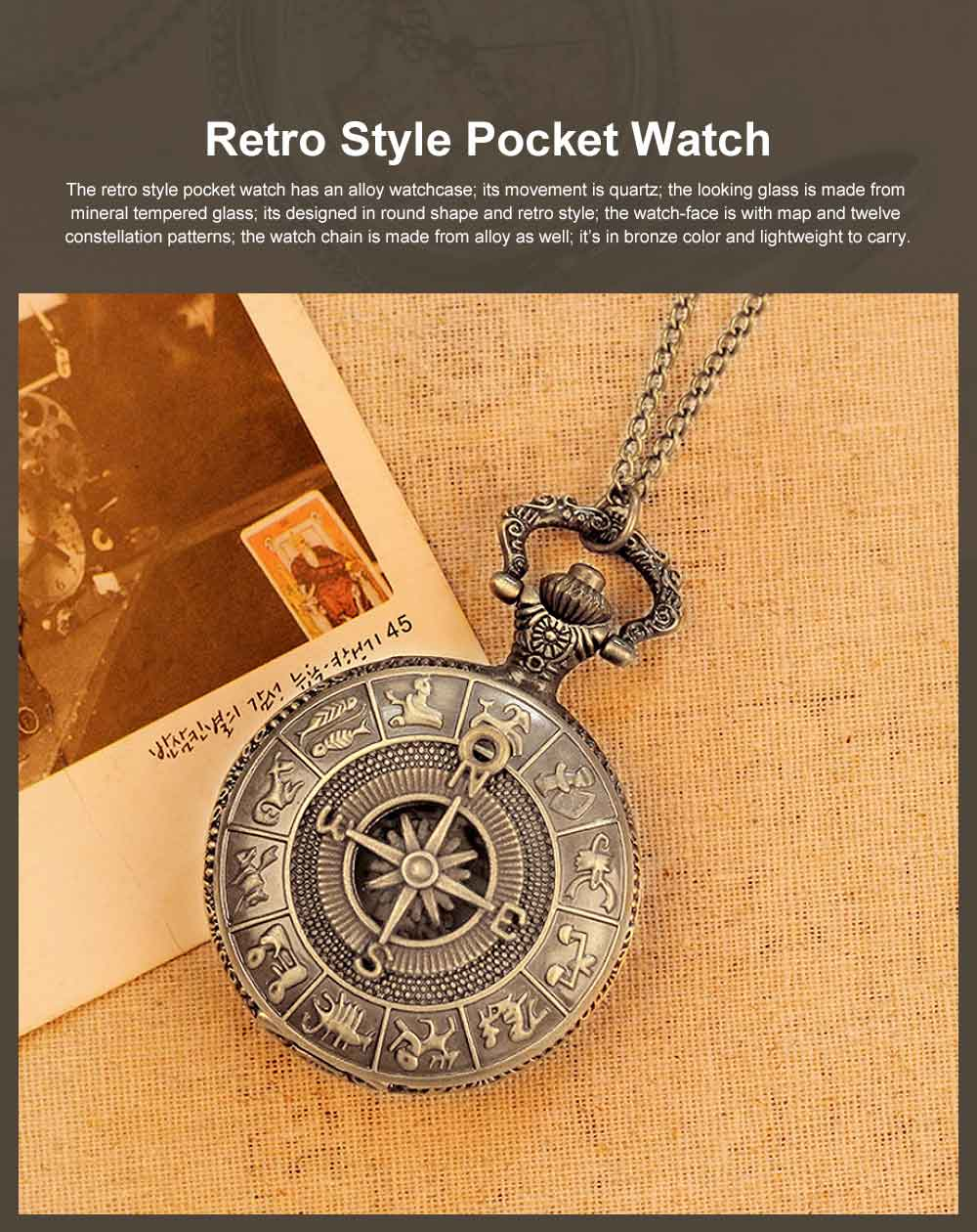 Large Size Pocket Compass with Twelve Constellation Pattern, Dial Plate Retro Style Compass, T-Pocketof Map Pattern Alloy Compass for Comping, Hiking 0