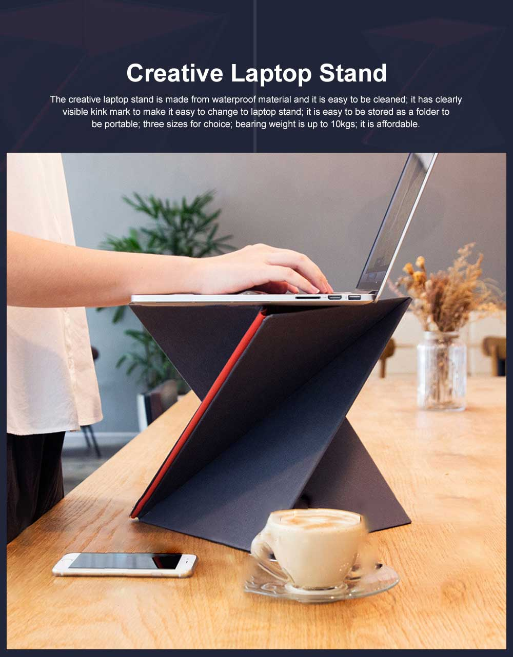 Foldable Laptop Stand for Notebook Computer, Supporting Notebook Vertical Type Computer Holder, Laptop Accessories Stand 0
