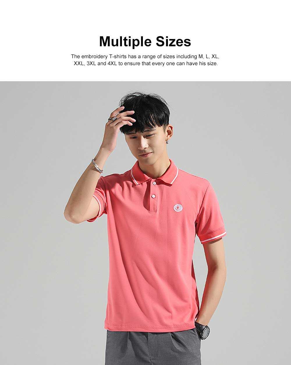 Embroidery T-shirt for Male Daily Wear 2019 Summer, Casually Turn-down Collar Top for Students, Youth Man All-match Polo Shirt 1