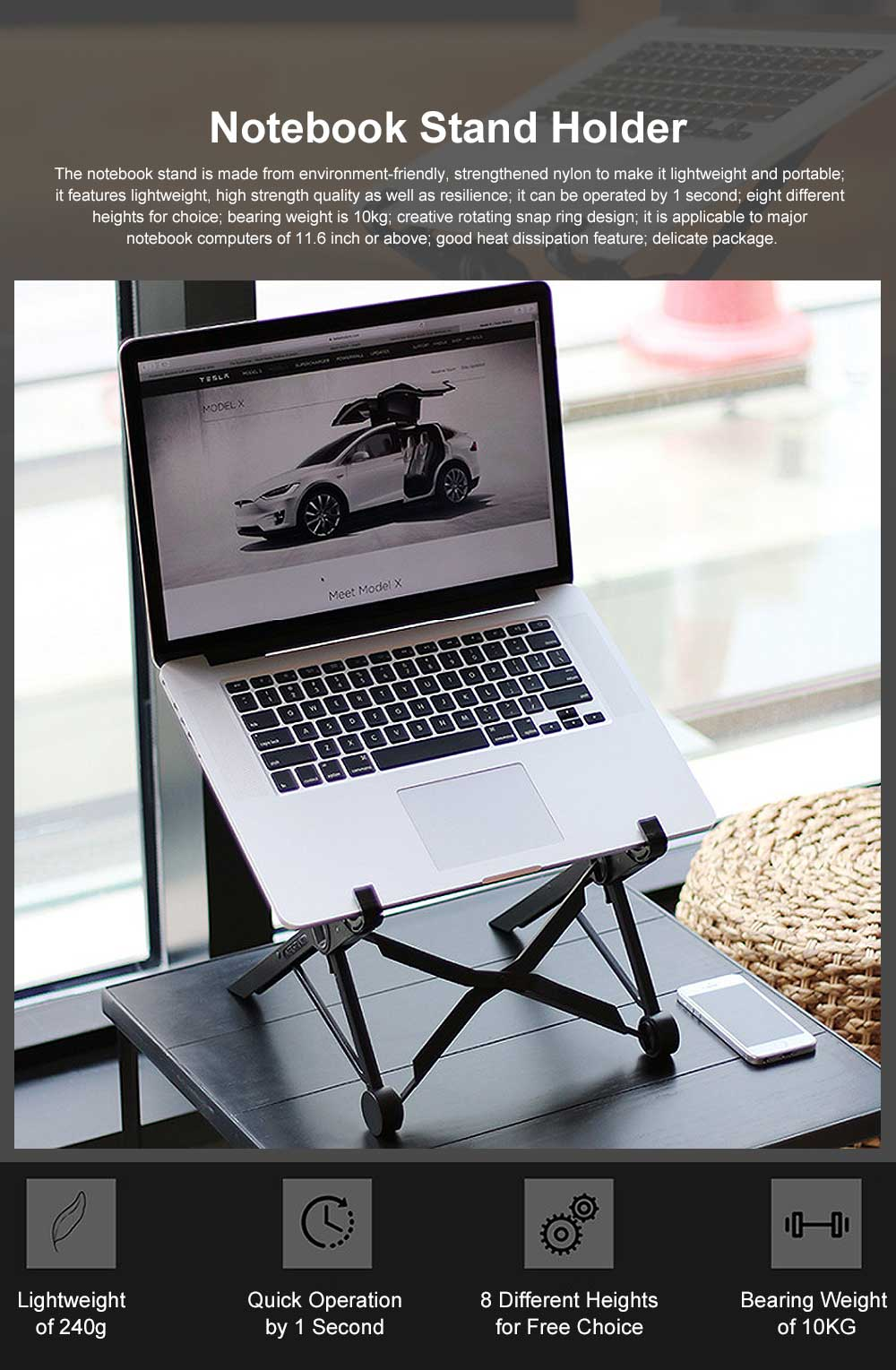 Foldable Supporting Stand for Laptop Computer, Lightweight Portable Notebook Holder, Liftable Cervical Vertebra Protective Support 0
