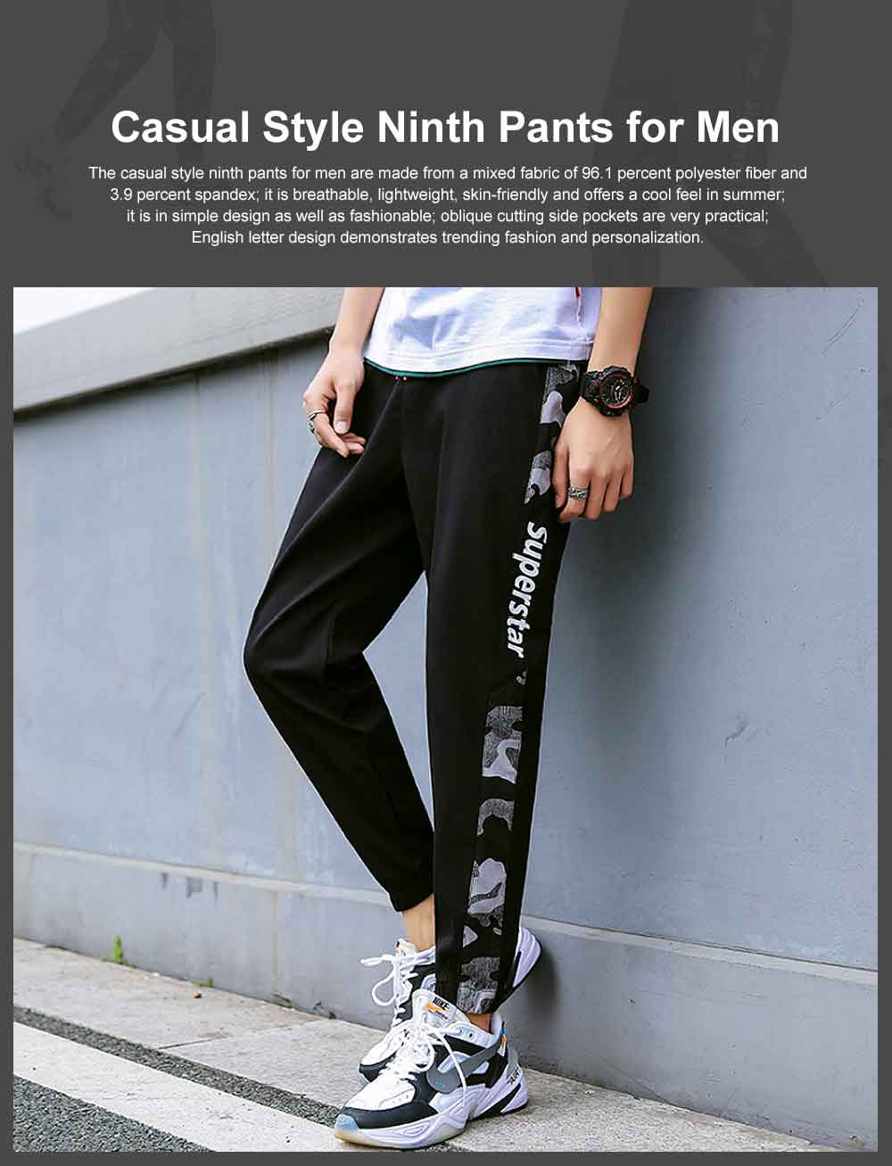 Casual Style Ninth Pants for Men's Summer Autumn, All-match Male Knickers Ankle-banded Pants for Students, Men's Sport Pants 0