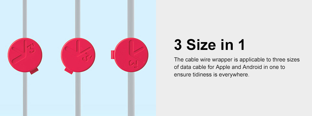 Magnetic Cable Wire Wrapper for Data Cable, USB Cable Office Use Cable Tidy Tool, Three Size in One Bobbin Winder 3
