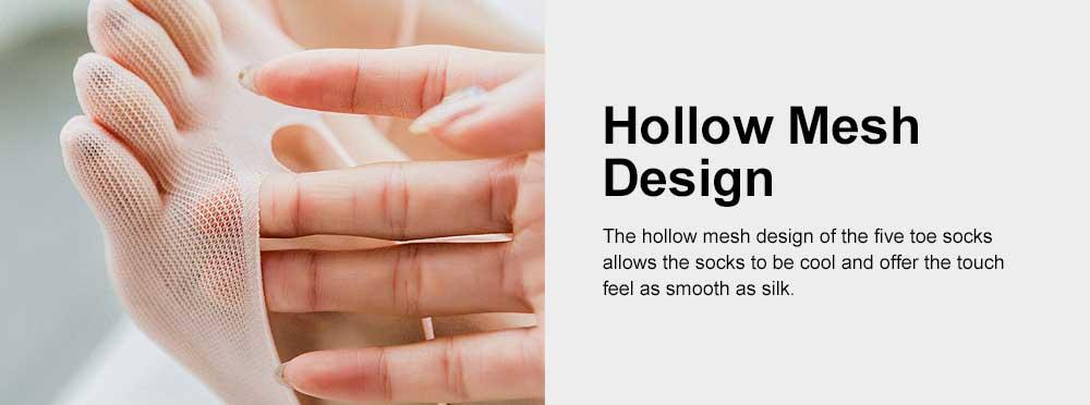 Nylon Invisible Sock Slippers for Children Spring Summer, Breathable Mesh Five Toe Socks, Hollow-out Cross Boat Socks 5