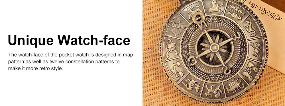Large Size Pocket Compass with Twelve Constellation Pattern, Dial Plate Retro Style Compass, T-Pocketof Map Pattern Alloy Compass for Comping, Hiking 4