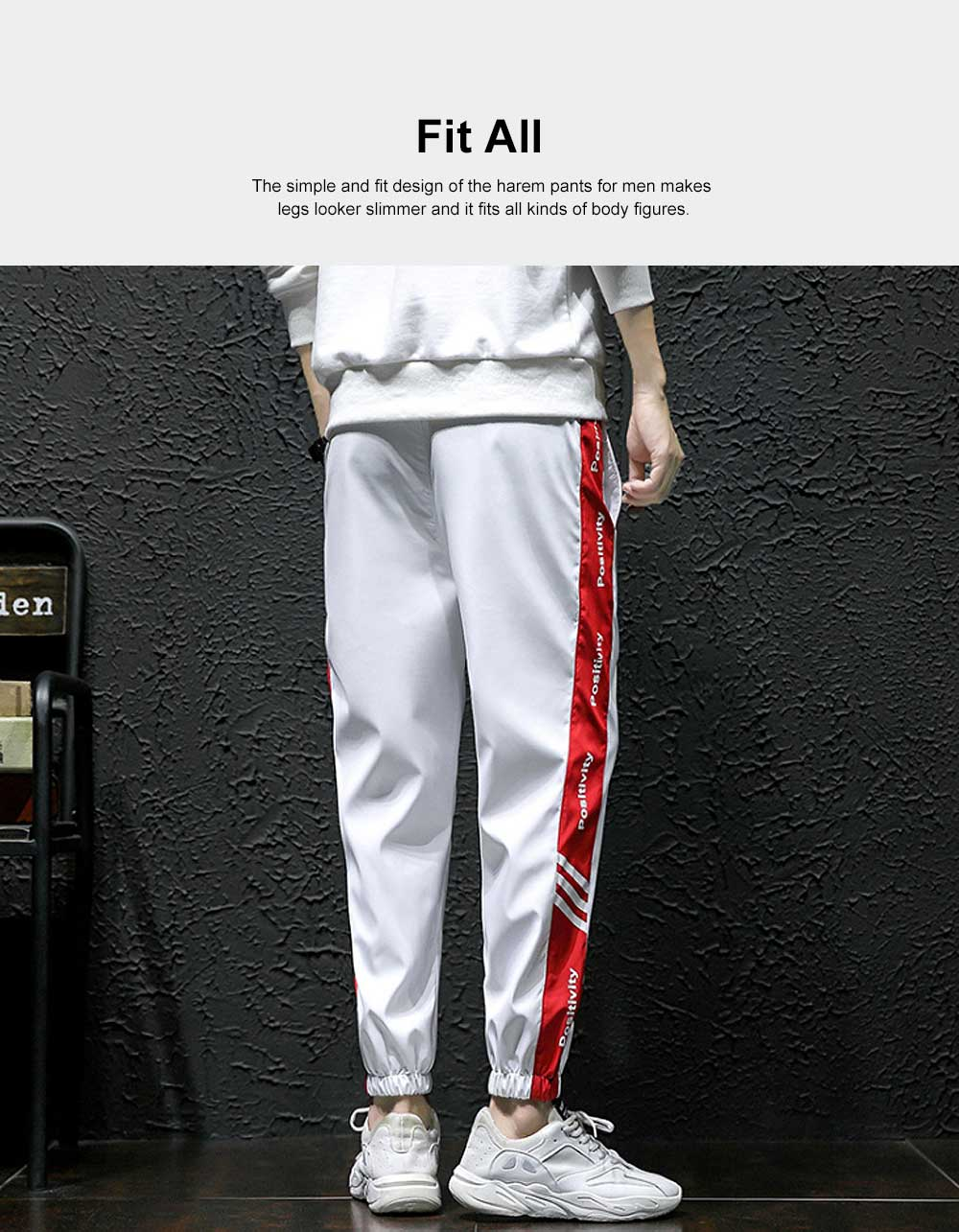 2019 Casual Harem Pants for Male Spring Summer, Mid-rised Slim-fit Pants for Man, Sports Slacks Men's Trousers 1