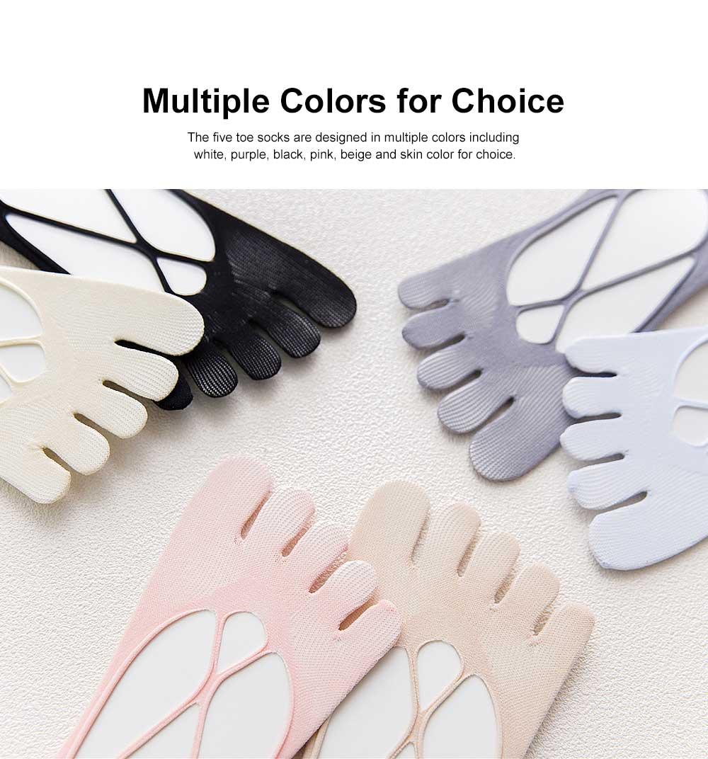 Nylon Invisible Sock Slippers for Children Spring Summer, Breathable Mesh Five Toe Socks, Hollow-out Cross Boat Socks 1