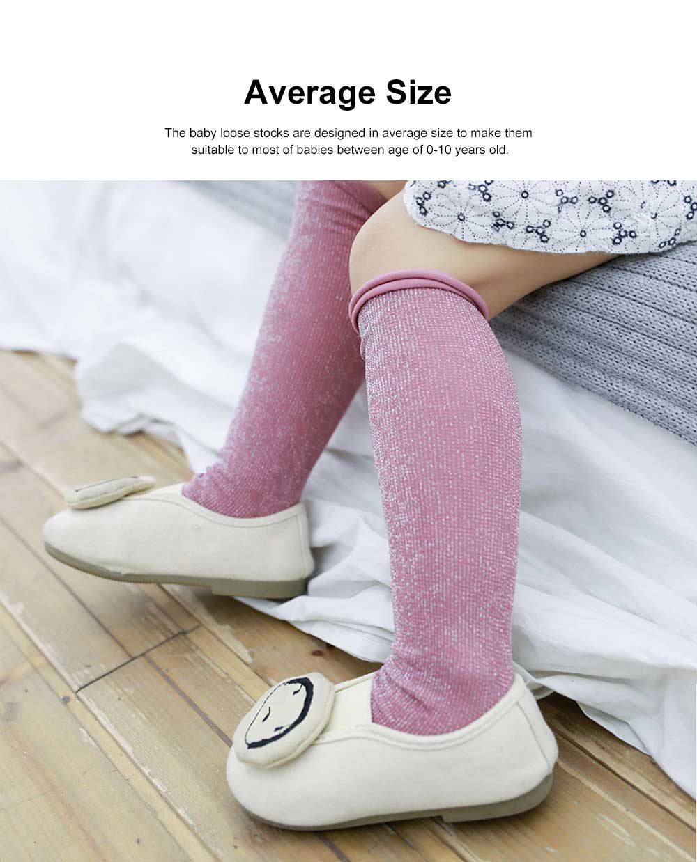 Pure Cotton Long Stockings for Kids Wear in Spring Summer, Purl Loose Socks for Babies, Thin Knee-socks Children's Stockings 1