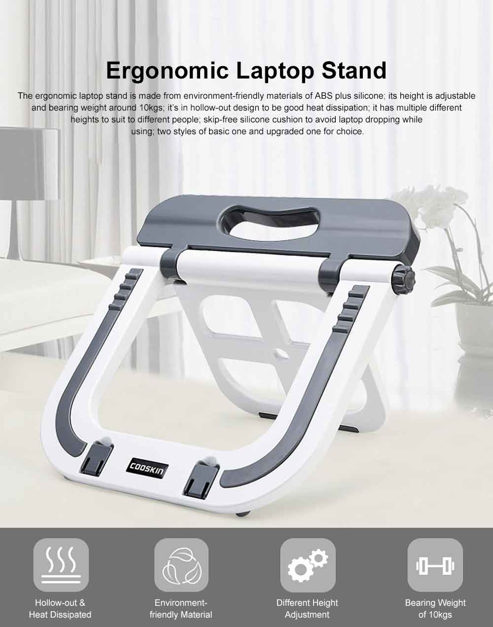 Adjustable Height Laptop Stand, Desk Neck Protective Notebook Computer Support for Lenovo Apple Notebooks, Heat Dissipated Base Computer Accessories 0