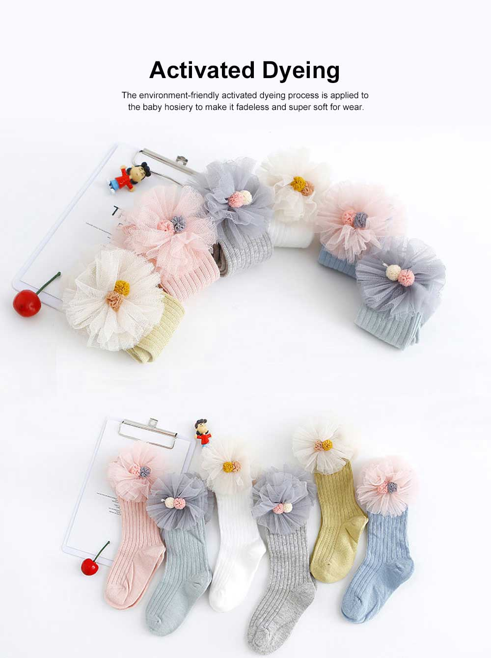 6pcs Mid-calf Length Socks for Baby, Throughout Whole Year Combed Cotton Thin Stockings, Lace Socks Baby Hosiery 1