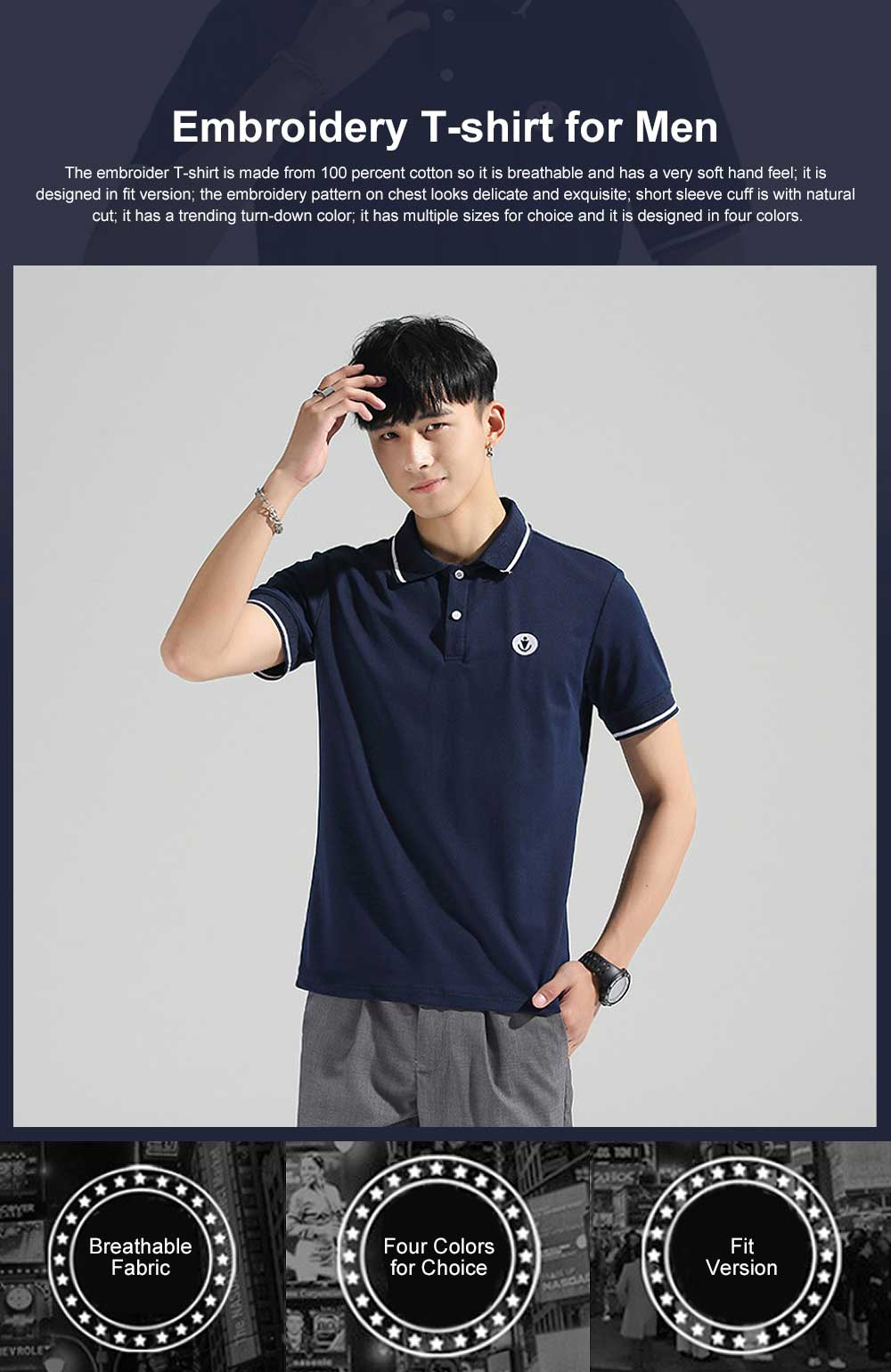 Embroidery T-shirt for Male Daily Wear 2019 Summer, Casually Turn-down Collar Top for Students, Youth Man All-match Polo Shirt 0