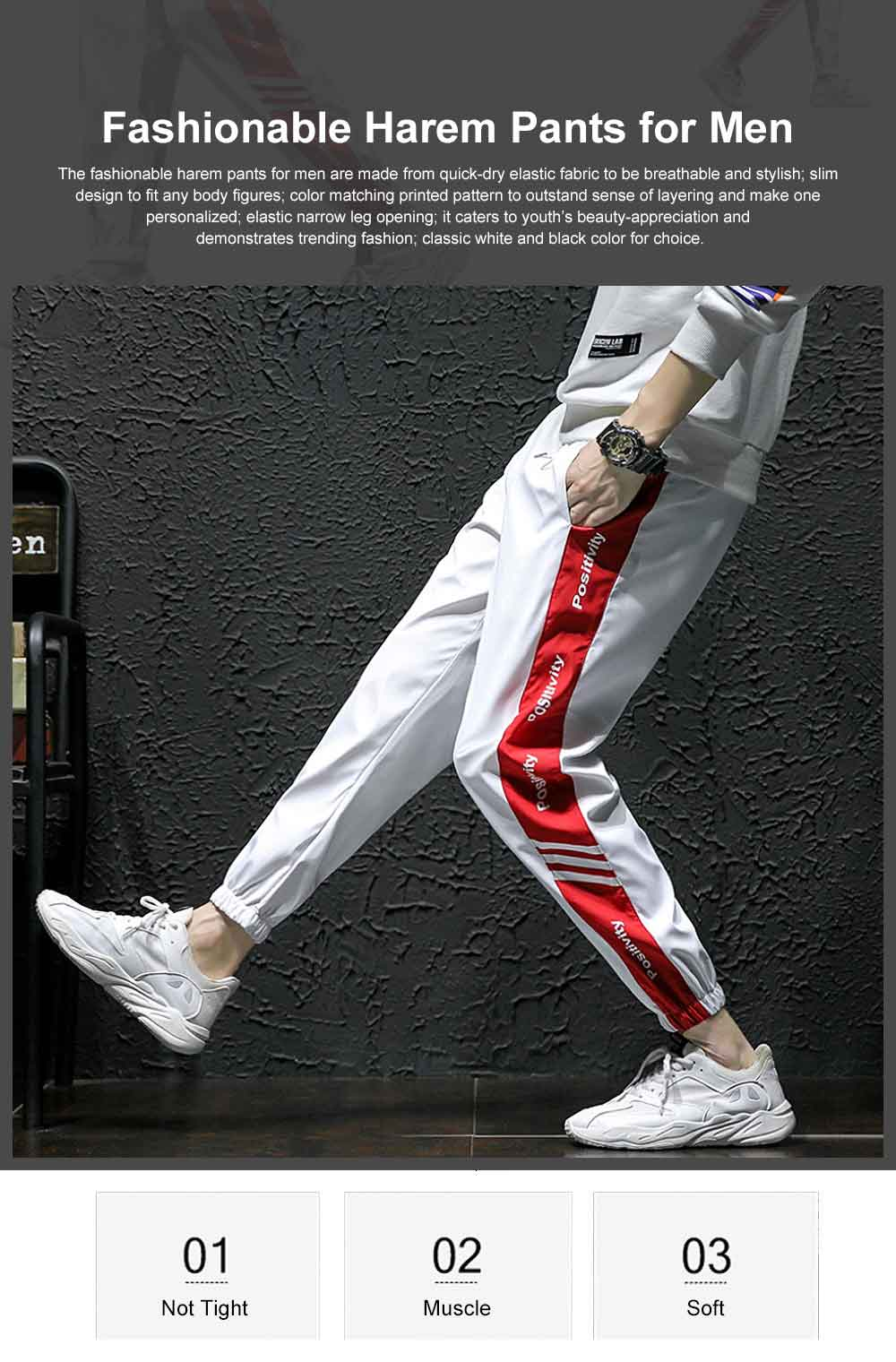 2019 Casual Harem Pants for Male Spring Summer, Mid-rised Slim-fit Pants for Man, Sports Slacks Men's Trousers 0