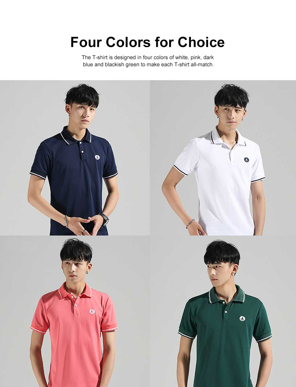 Embroidery T-shirt for Male Daily Wear 2019 Summer, Casually Turn-down Collar Top for Students, Youth Man All-match Polo Shirt 2