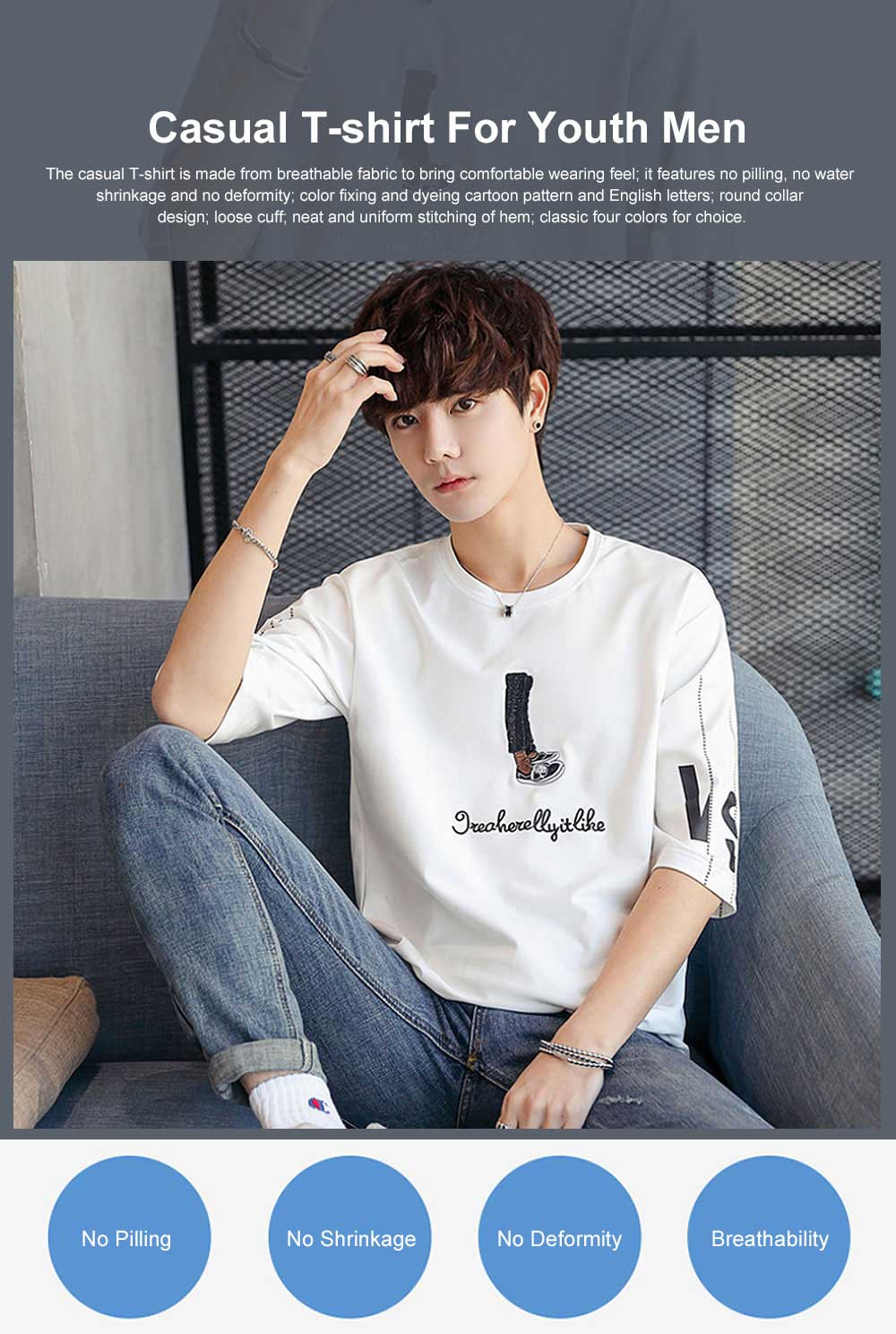 Short Sleeve Round Collar T-shirt for Male Wear Spring Summer, Loose Version Casual Style T-shirt with Cartoon Pattern, Students Men's Top 0