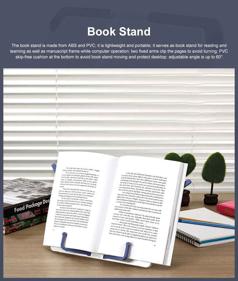Small Size Portable Book Stand for Students Use, Reading Manuscript Frame Computer Operation, Ergonomic Designed Book Stand 0