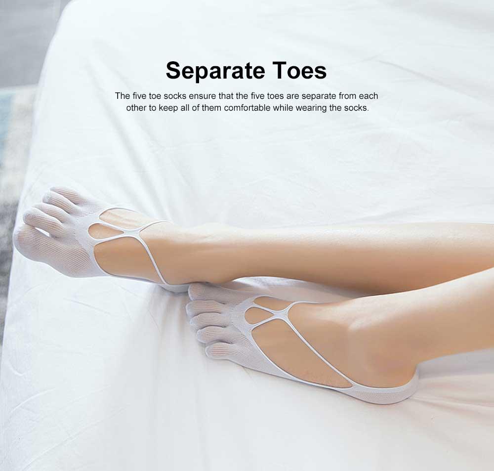 Nylon Invisible Sock Slippers for Children Spring Summer, Breathable Mesh Five Toe Socks, Hollow-out Cross Boat Socks 2
