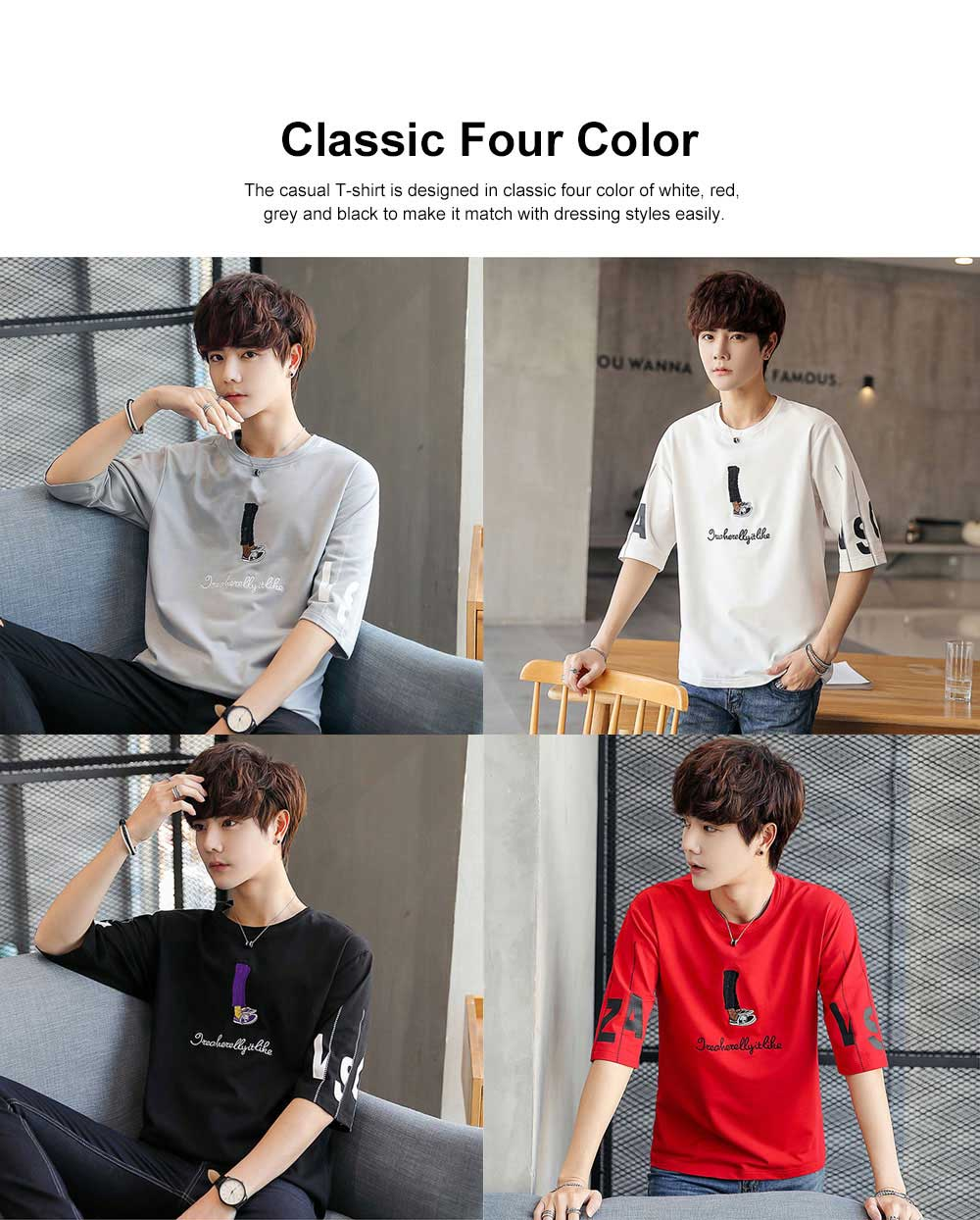 Short Sleeve Round Collar T-shirt for Male Wear Spring Summer, Loose Version Casual Style T-shirt with Cartoon Pattern, Students Men's Top 1