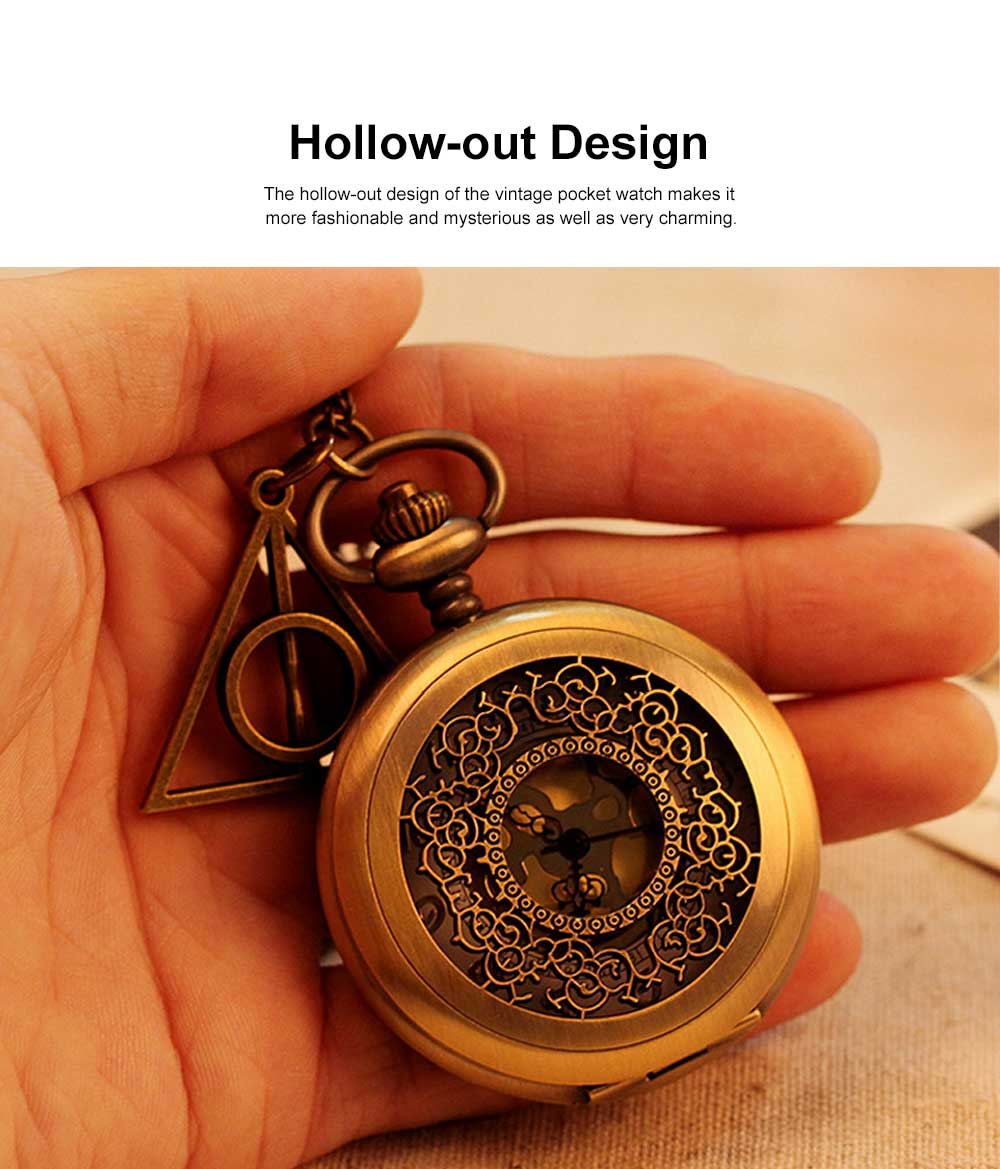 Retro Style Golden Dial Pocket Compass, Hollow-out Vintage Compass with the Deathly Hallows Pattern, Hiking, Camping, Outdoors Compass 3