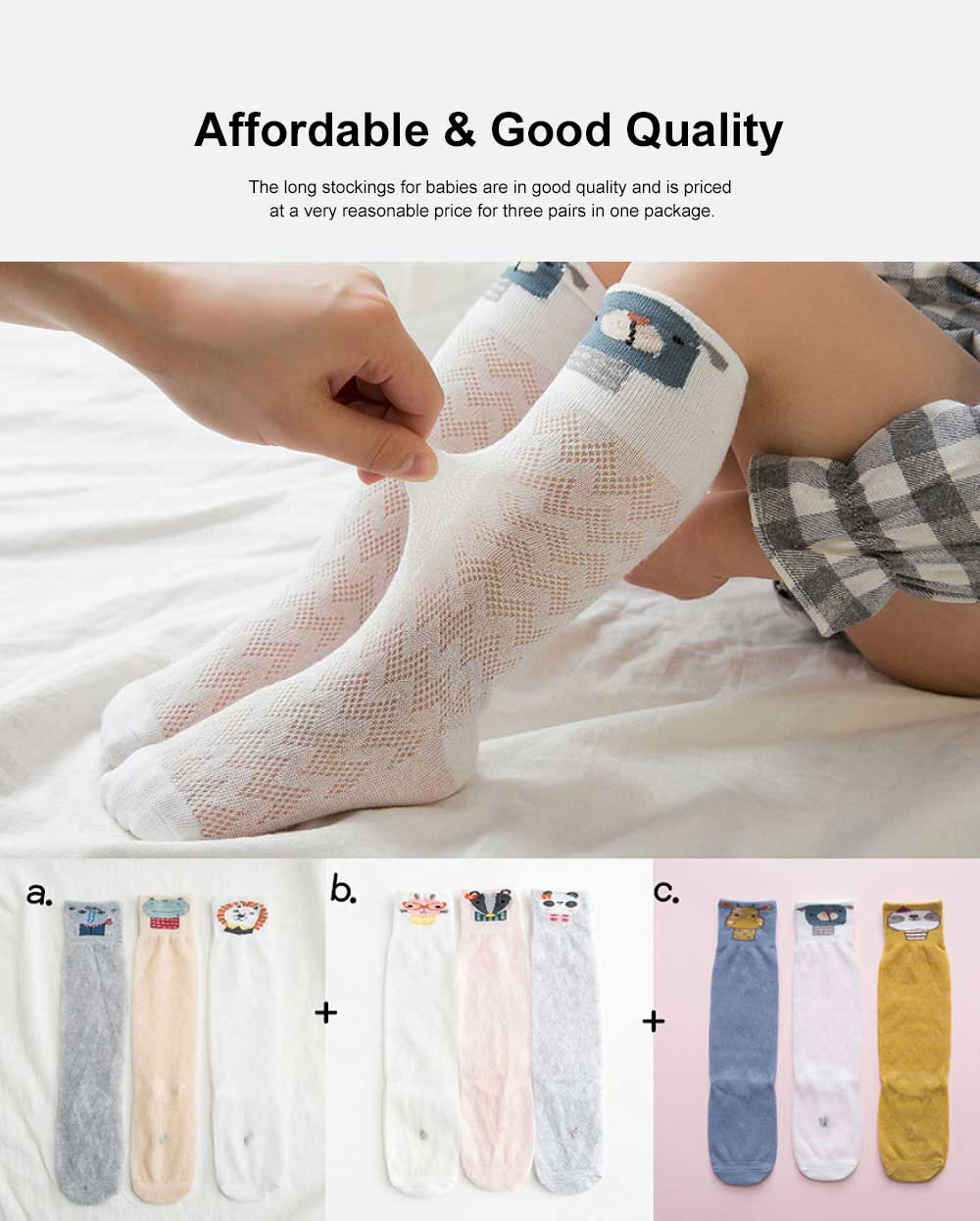 Pure Cotton Long Stockings for Babies Spring Summer, Thin Mesh Socks with Cartoon Pattern Design, Mid-calf Length Socks Baby Hosiery 2