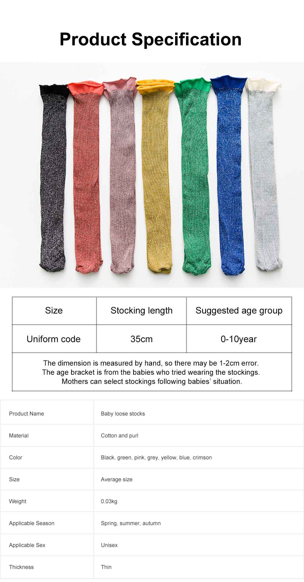 Pure Cotton Long Stockings for Kids Wear in Spring Summer, Purl Loose Socks for Babies, Thin Knee-socks Children's Stockings 6