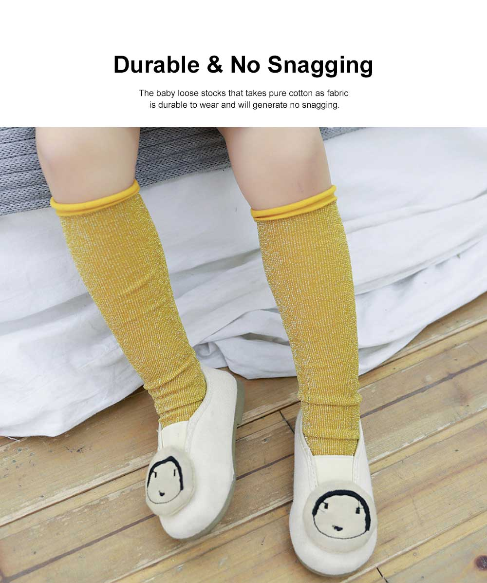 Pure Cotton Long Stockings for Kids Wear in Spring Summer, Purl Loose Socks for Babies, Thin Knee-socks Children's Stockings 2