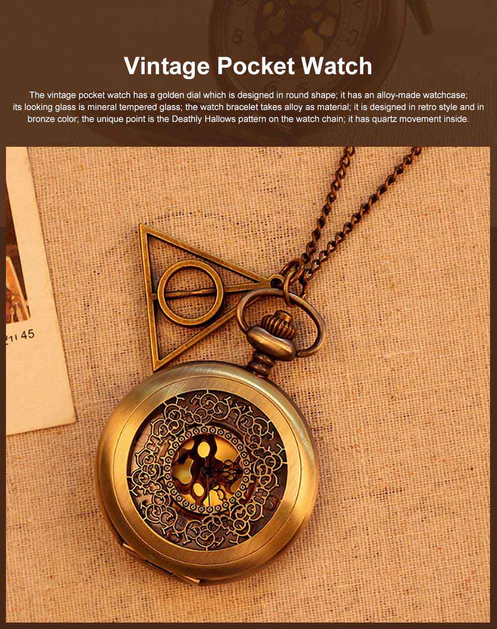 Retro Style Golden Dial Pocket Compass, Hollow-out Vintage Compass with the Deathly Hallows Pattern, Hiking, Camping, Outdoors Compass 0