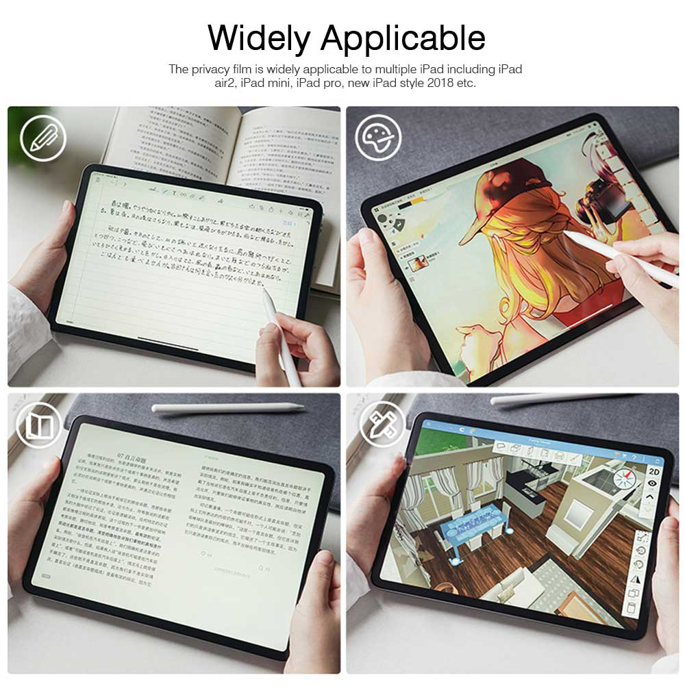 Privacy Film for iPad Screen Protective, Peep-proof Protection Film Skin Apple iPad air 2,iPad mini1 2 3,iPad2 3 4,iPad mini 4, iPad pro 9.7, Pro 12.9 10.5 5