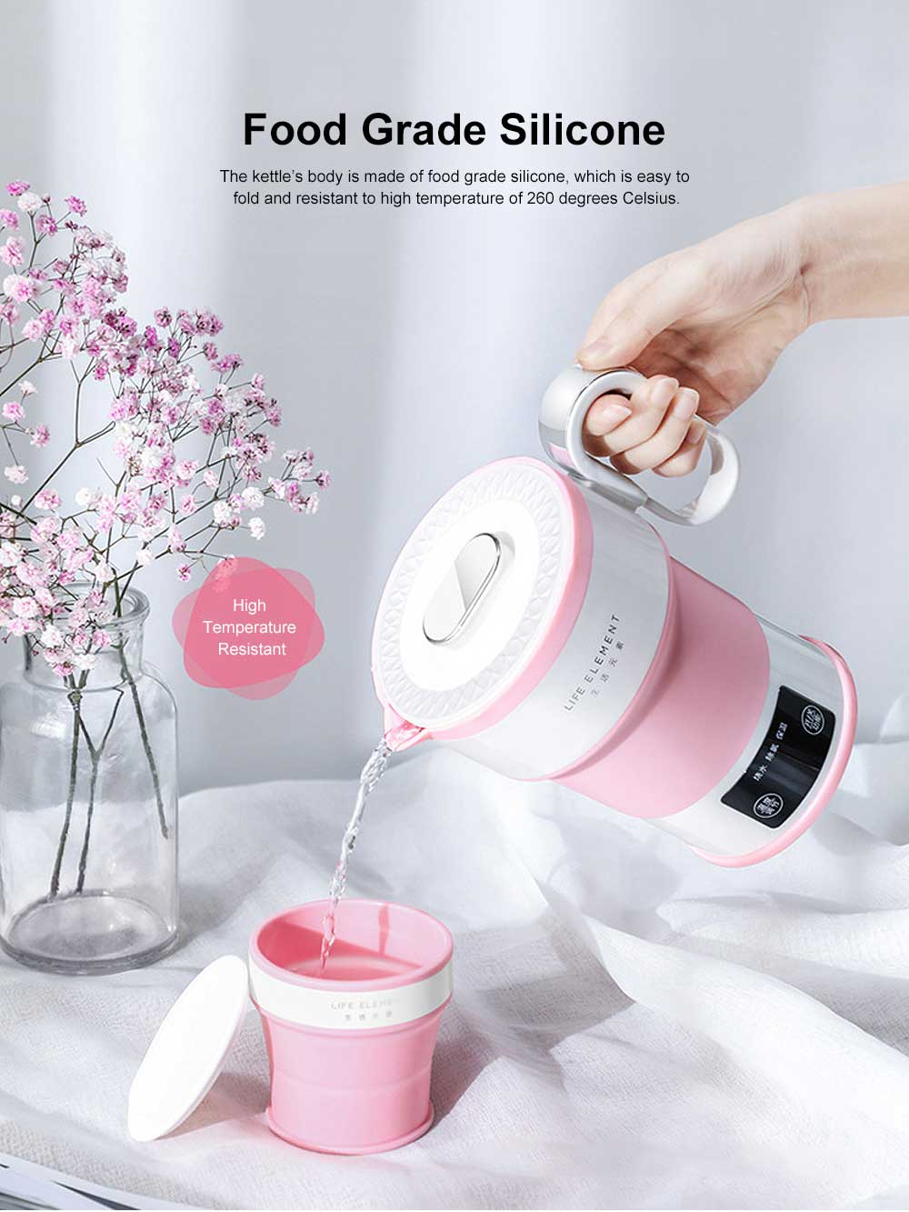 Portable Electric Heating Cup, Food Grade Silicone Pink Compression Folding Kettle for Travel, Life Element Intelligent Water Bottle 2