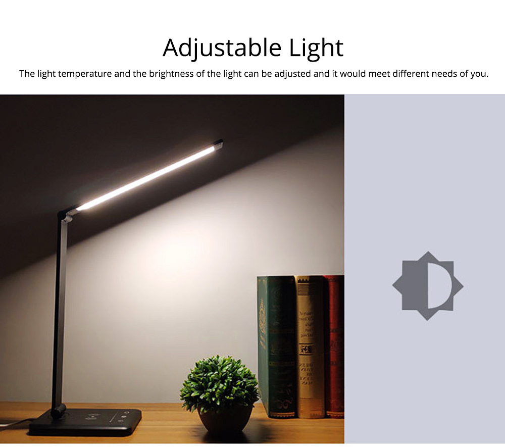 Intelligent Touch Lighting, Foldable Adjustment Rotation Aluminum Table Light for Students, Wireless Charging 5 Settings LED Table Lamp 2