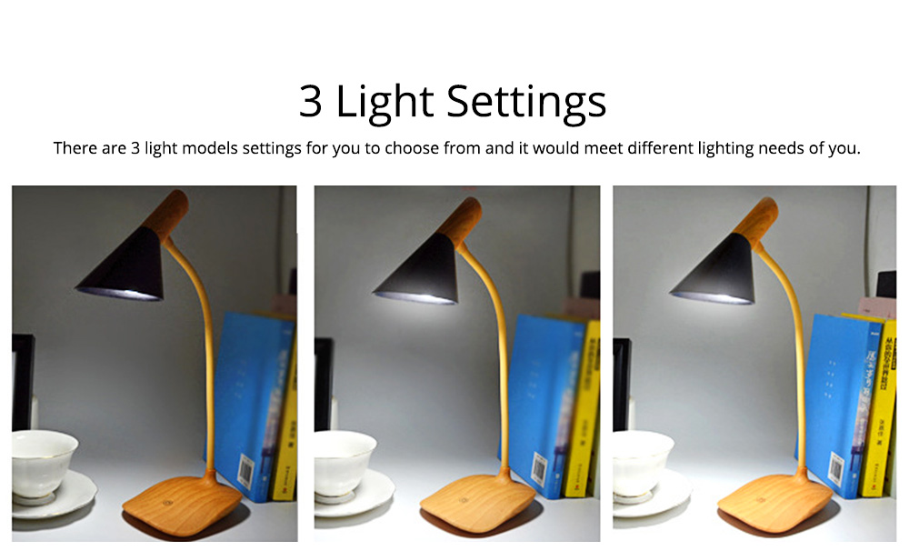 Creative Minimalist Imitation Wood Grain LED Table Lamp, Quality ABS Touch Control Bedside Office Student Light with Clip 3