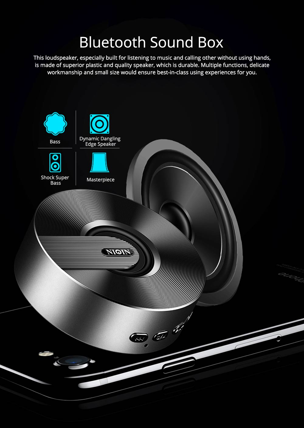 Mini Portable Sanded Plastic Speaker Sound Box, Delicate Mobile Phone Bluetooth Loudspeaker with Notify 7 Colors Light 0