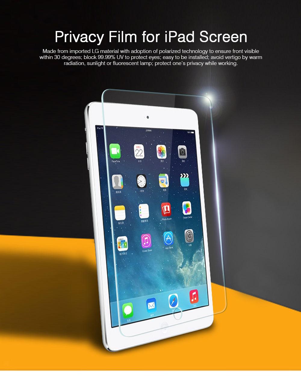 Privacy Film for iPad Screen Protective, Peep-proof Protection Film Skin Apple iPad air 2,iPad mini1 2 3,iPad2 3 4,iPad mini 4, iPad pro 9.7, Pro 12.9 10.5 0