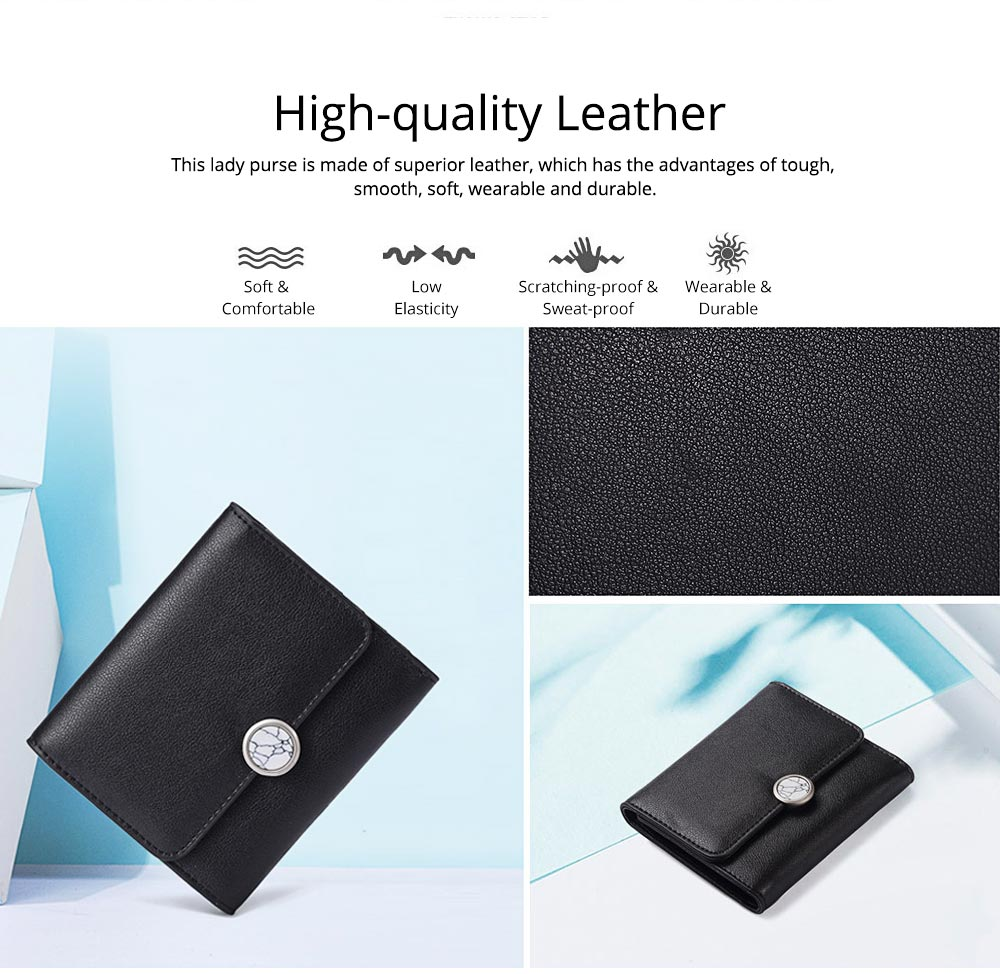 Minimalist Elegant Pure Color Small Leather Lady Purse, Functional Three Folded Smooth Oxhide Buckle Women Purse 1