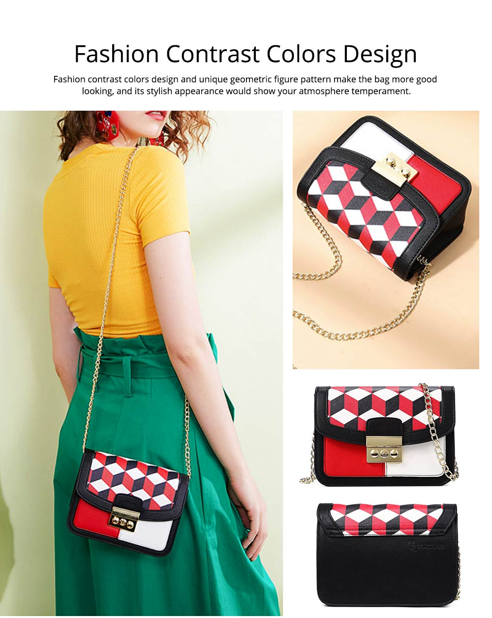 Minimalist Unique Contrast Colors Checked Women Shoulder Bag, Quality Metal Chain Geometric Figure Pattern Sling HandBag for Ladies 7