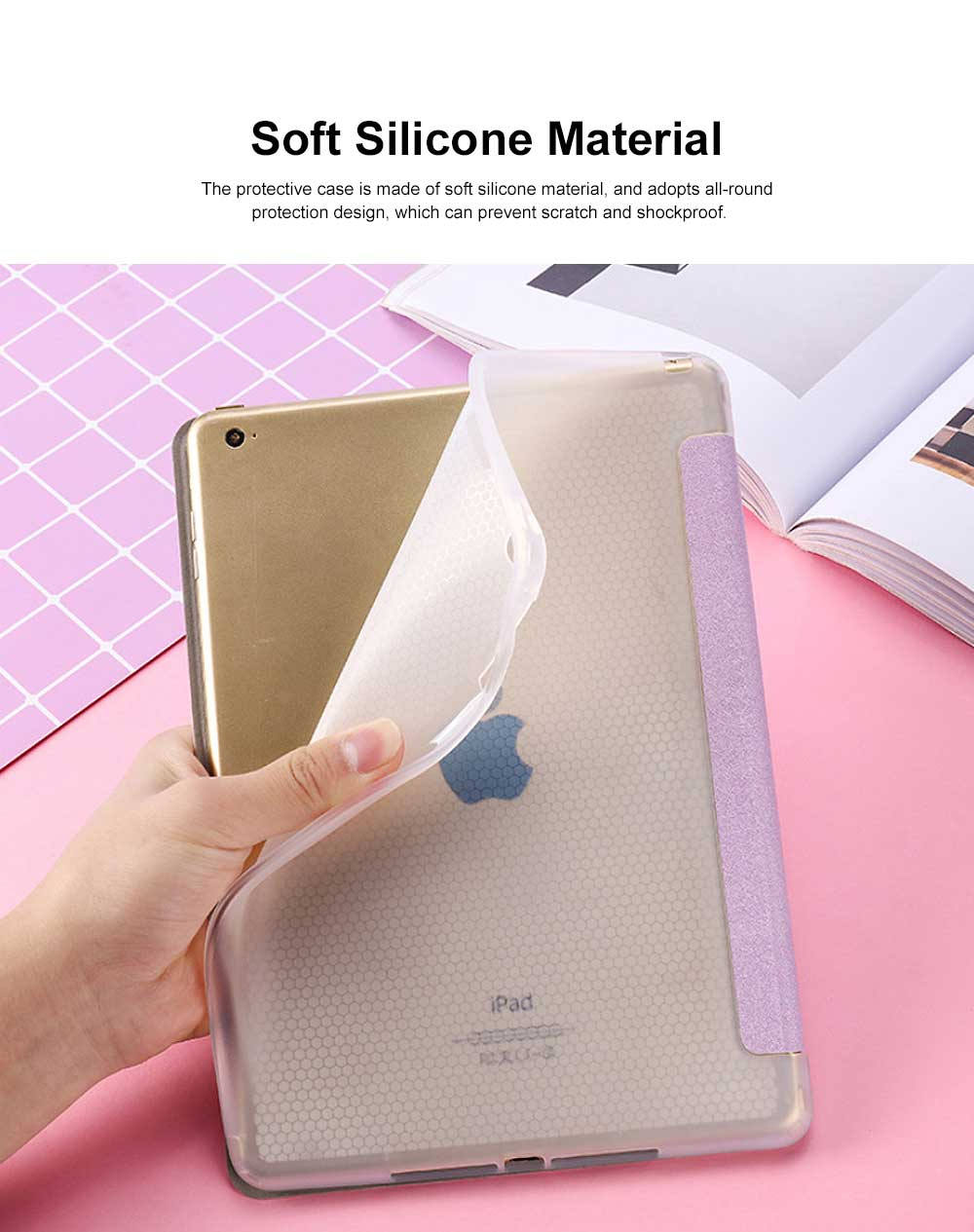 iPad Protective Case, Soft Silicone Tablet PC Protective Cover for iPad 2018 9.7 inch, 2019 New Air 3, Mini 2 3 4 5, Pro 10.5 1