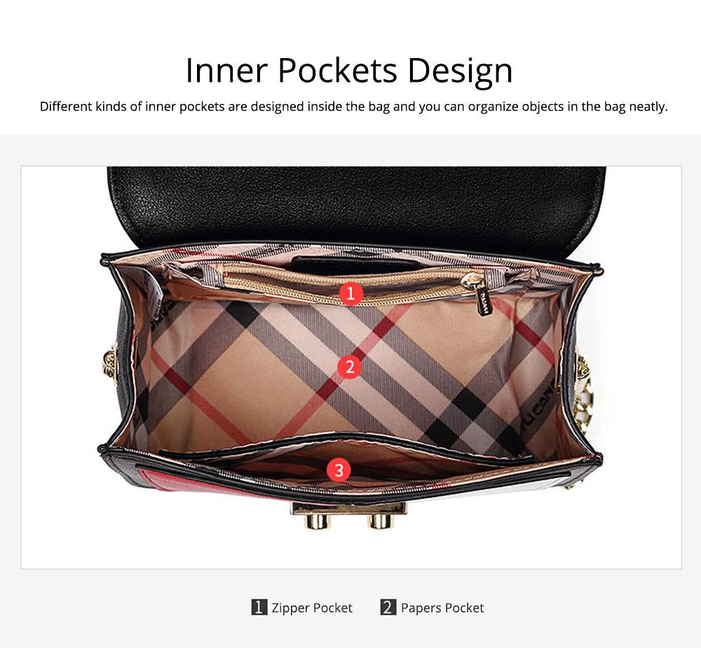 Minimalist Unique Contrast Colors Checked Women Shoulder Bag, Quality Metal Chain Geometric Figure Pattern Sling HandBag for Ladies 5