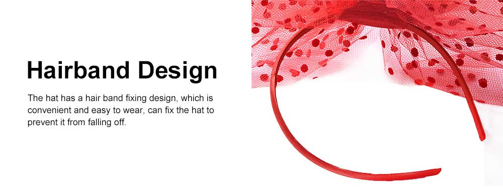 Women Dots Mesh Hair Clasp Hat, European and American Dancing Parties Fashion Accessory Headwear, Elegant Feather Headdress 4