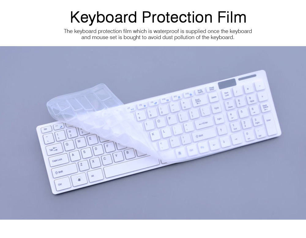 14 Inch Chocolate 2.4G Wireless Keyboard with Mouse Set, Ultrathin Wireless Keyboard Mouse Set for Mac Win 7 Win 8 Android XP System 2
