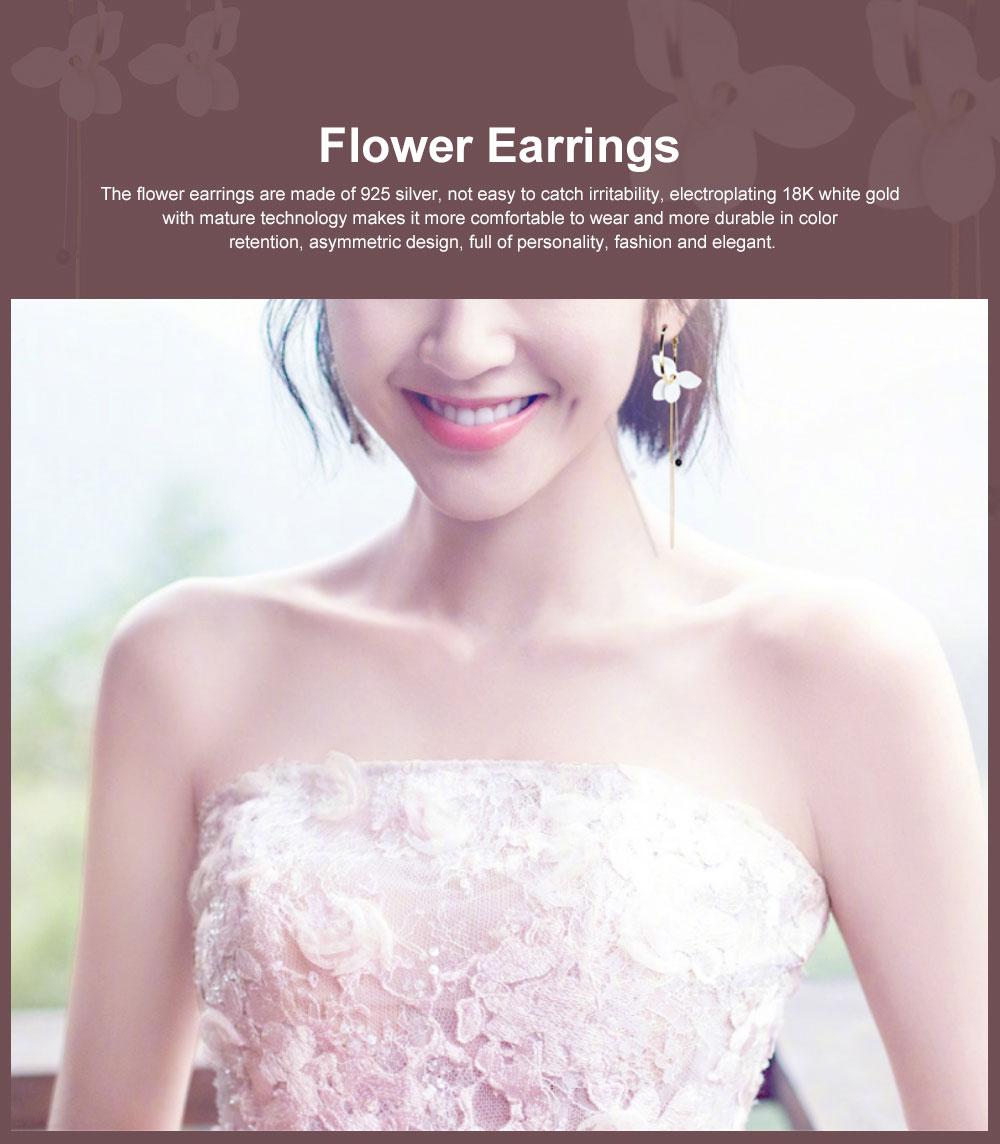 925 Silver Earrings, Fashion Asymmetric Long Pendant, Chic Gold Circle Hoop Seaside Holiday Style Flower Eardrop 0