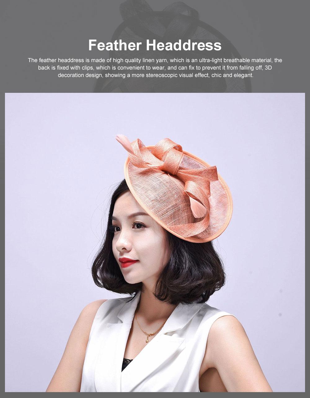 Women Headdress, Horse Riding Yarn Bowknot Feather Top Hat, Banquet Wedding Accessory Headwear 0