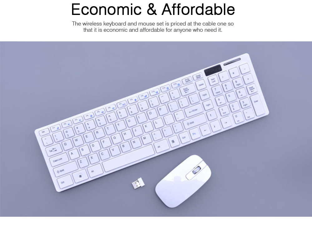 14 Inch Chocolate 2.4G Wireless Keyboard with Mouse Set, Ultrathin Wireless Keyboard Mouse Set for Mac Win 7 Win 8 Android XP System 5