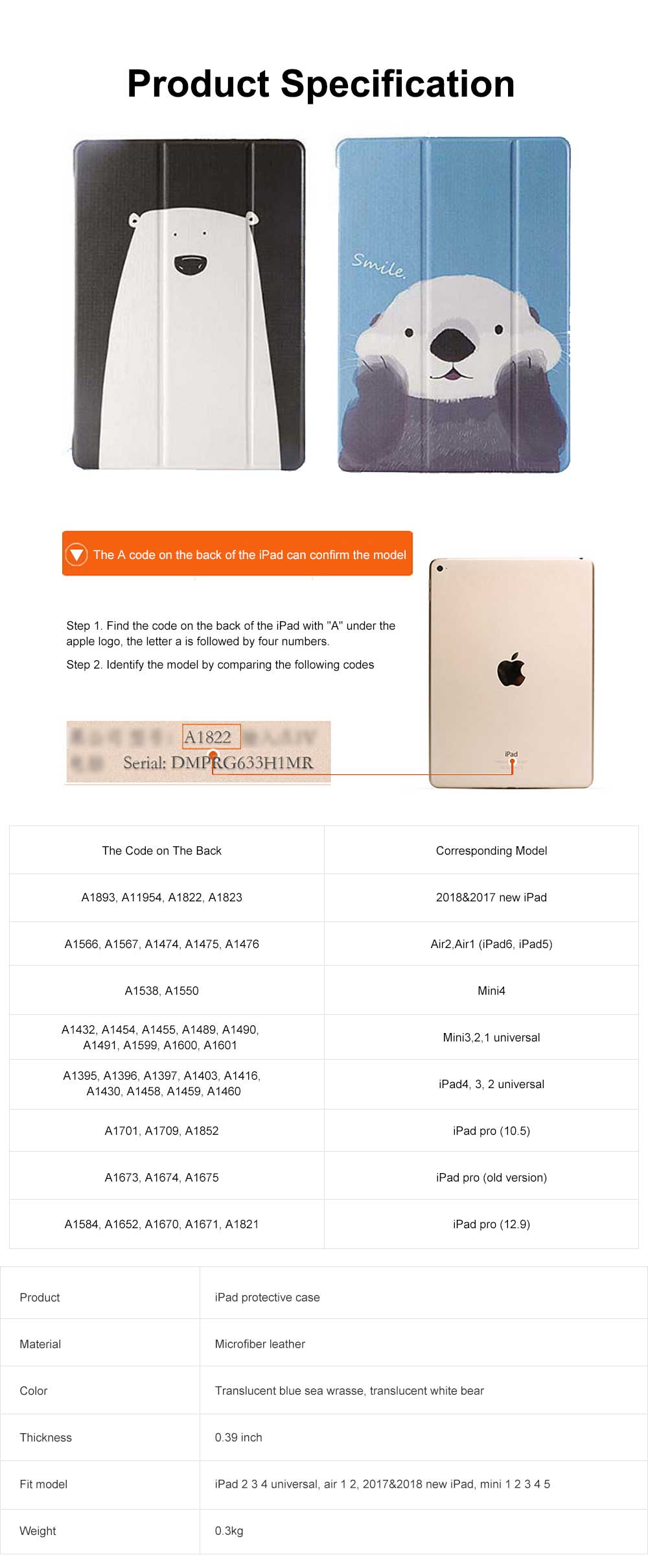 All-round Protection Protective Case, Intelligent Dormancy Protective Cover for iPad Mini 1 2 4 5, Air 1 2, 2017 2018 New iPad 6
