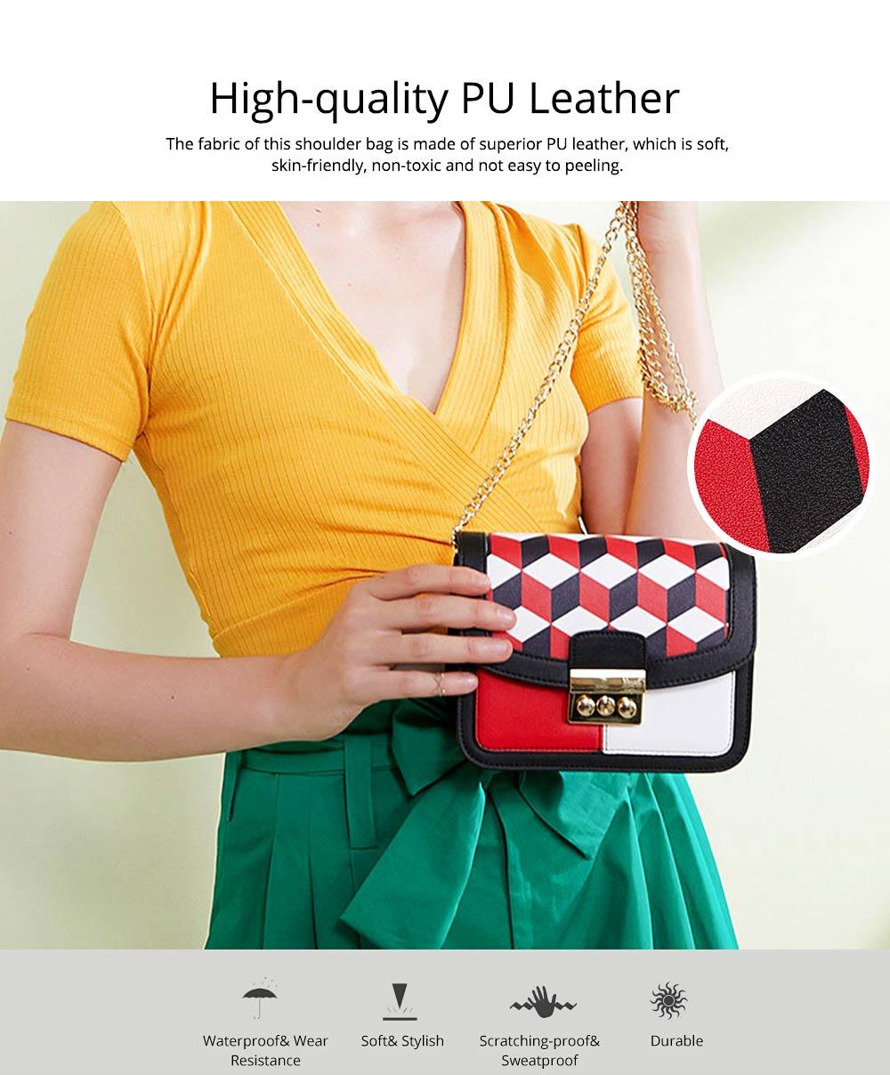 Minimalist Unique Contrast Colors Checked Women Shoulder Bag, Quality Metal Chain Geometric Figure Pattern Sling HandBag for Ladies 1