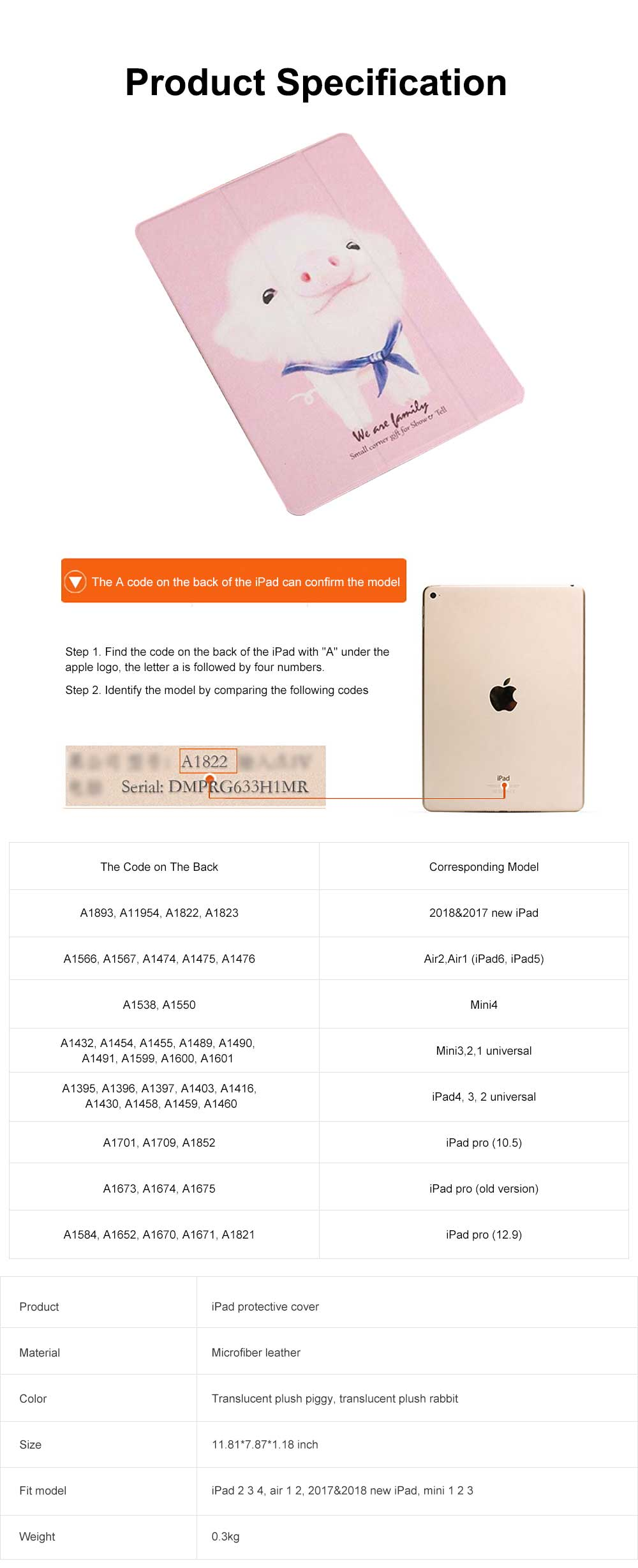 Imitation Leather Protective Cover, Ultra-thin Shockproof Dormancy Protective Case for iPad Mini 4 5 12 3, Air 1 2, New iPad 9.7 2018 2017 6