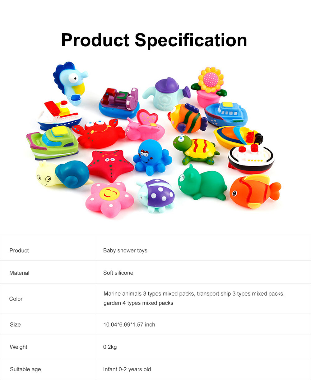 Baby Shower Bath Toys, Soft Silicone Floating Squeeze Water Spray Bathtub, Cartoon Animals Bathing Toys 6