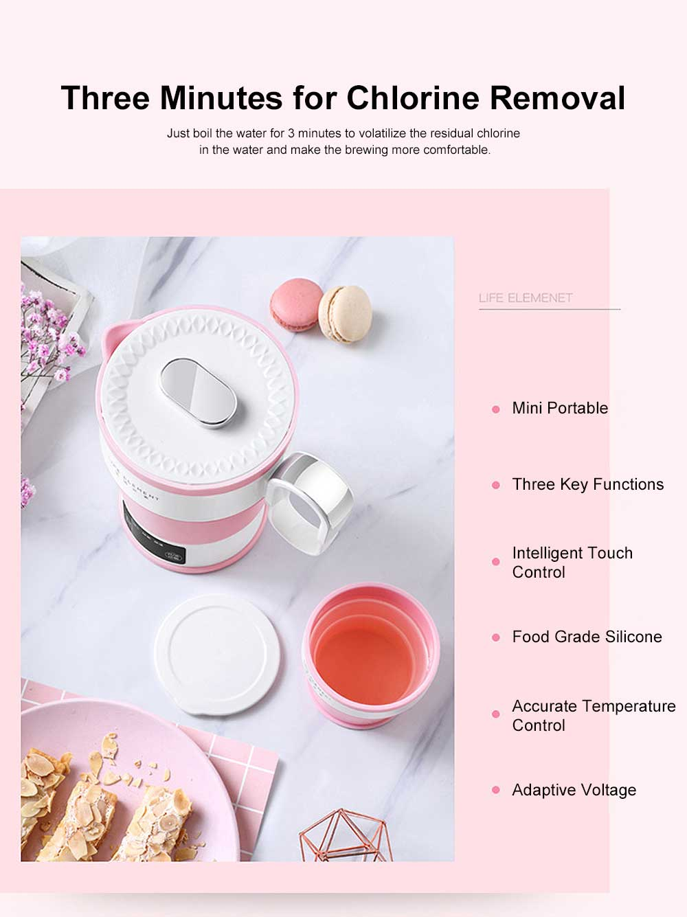 Portable Electric Heating Cup, Food Grade Silicone Pink Compression Folding Kettle for Travel, Life Element Intelligent Water Bottle 4