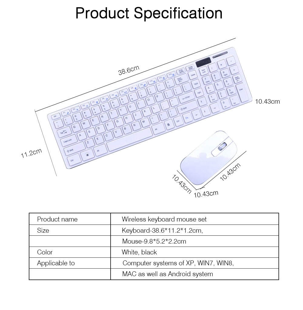 14 Inch Chocolate 2.4G Wireless Keyboard with Mouse Set, Ultrathin Wireless Keyboard Mouse Set for Mac Win 7 Win 8 Android XP System 6