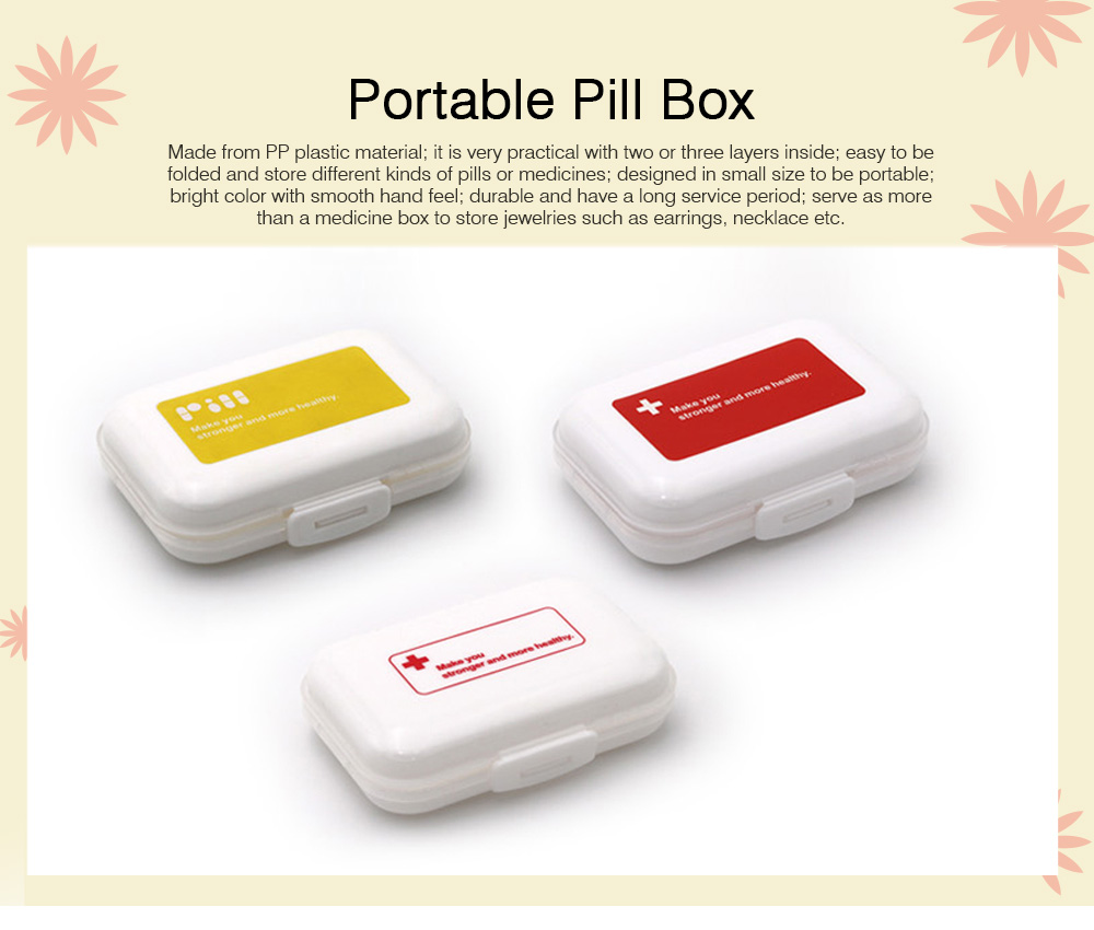 Portable One Week Eight Compartment Pill Box, Plastic Mini Pill Organizer Easy Carry, Multifunctional Medicine Box Medication Organizer 0