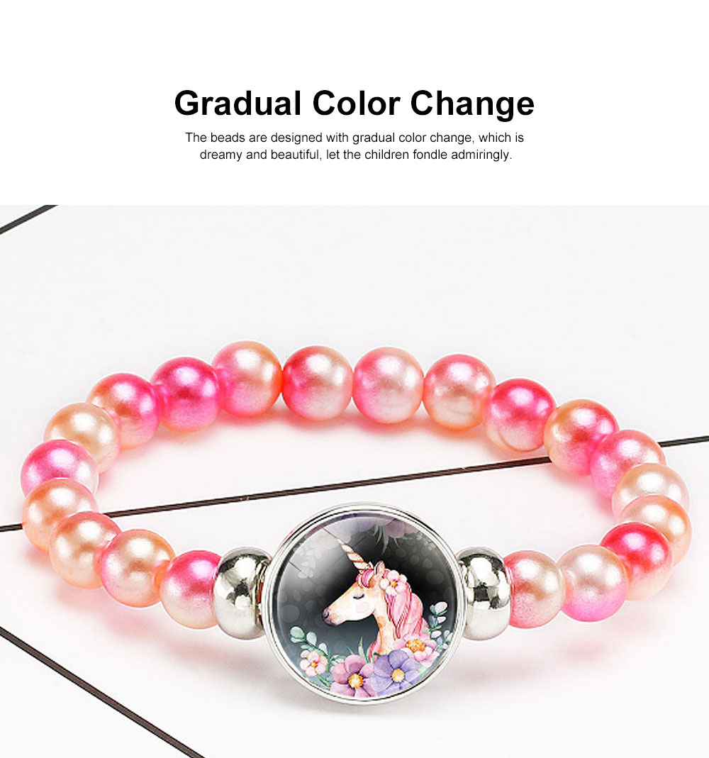 Lovely Unicorn Bracelet for Children Creative Fashion Cartoon Accessory Colorful Beads Jewelry Birthday Gift 1