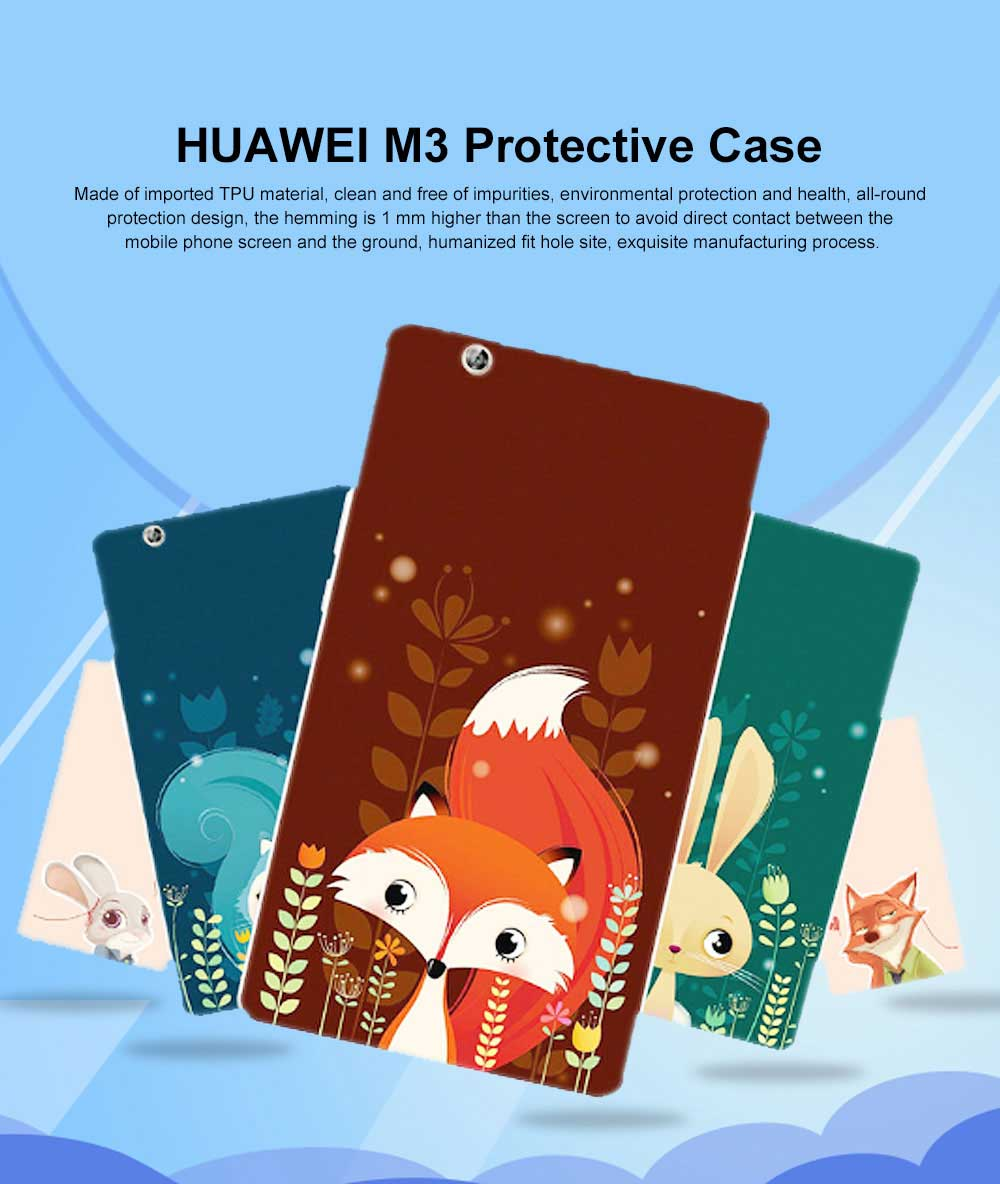 Huawei Tablet PC M3 Protective Case, TPU HD Painted Cartoon Tablet PC Protective Cover for HUAWEI m3 8.4 inch 0